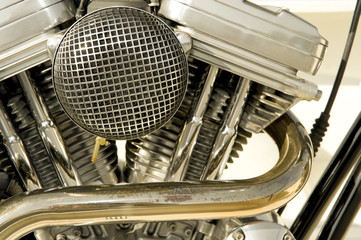 Wall Mural - motorcycle engine cylinders and filter closeup