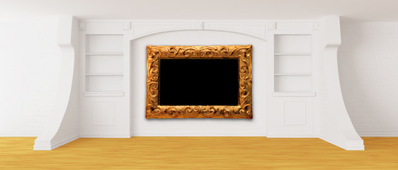 Empty bookcase with antique frame in modern interior
