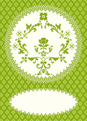 Invitation card with classical ornaments on green