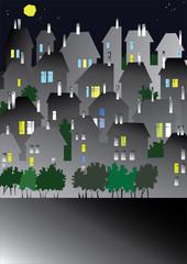 vector european city in the night