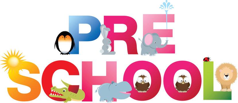 pre school word in fun letters