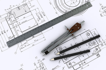 metal shaft, compasses, rulers and pencils