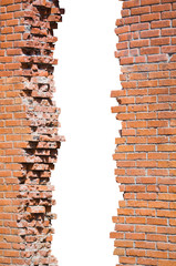Broken brick wall isolated