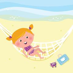Happy beauty girl relaxing in the hammock near beach
