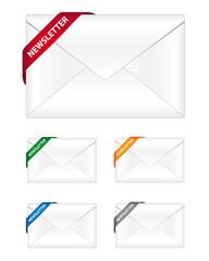 Newsletter icons with corner ribbon