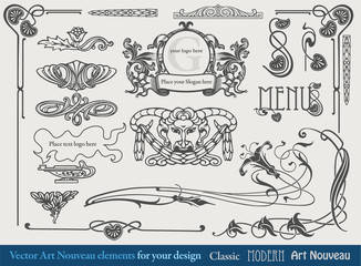 Elements for the design, borders, vignettes in Art Nouveau style