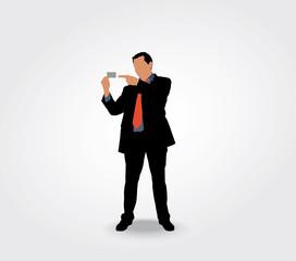 Silhouette homme montrant sa carte de visite