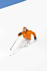 Male Powder Skiing in Colorado Rockies