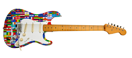 world flags on electric guitar