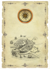 Old town and compass illustration