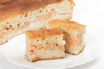 Pie with salmon
