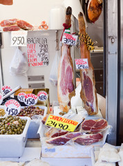 jamon and olives at market