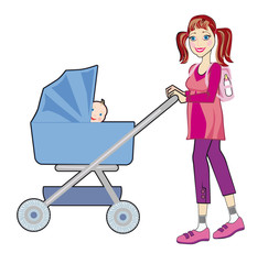 A young mother goes for a walk with a baby in a pram
