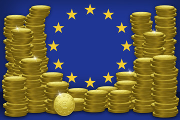 European Flag With Piles Of Euro Coins