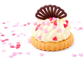cake with pink hearts, on white background