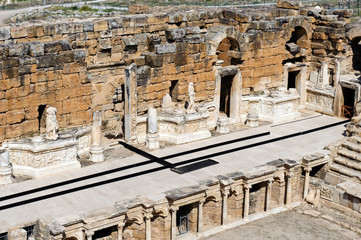 Ancient theater in Hierapolis, now Pamukkale, Turkey
