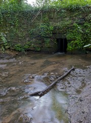 A small stream flowing through a small tunnel