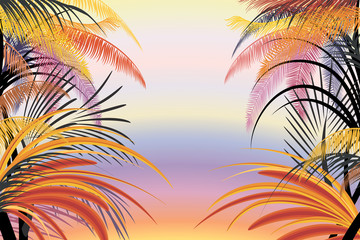 Background with silhouettes of tropical plants