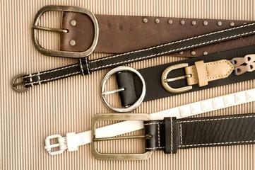 belts on cardboard background