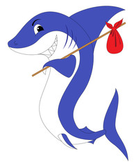 A shark with a red swag