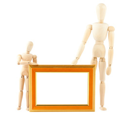 Two wooden dummy and empty frame
