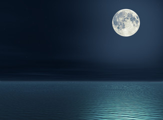 Tuinposter Volle maan The moon over the sea