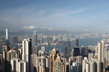 Hong Kong panorama from famous The Peak