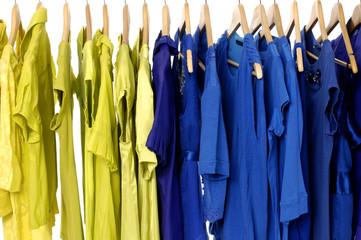 Fashion yellow shirts rack