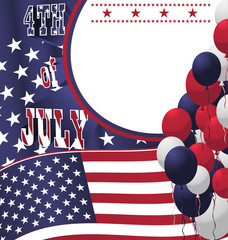 4th of July poster card. Vector Illustration