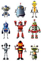 Spoed Foto op Canvas Robots cartoon robot icon set