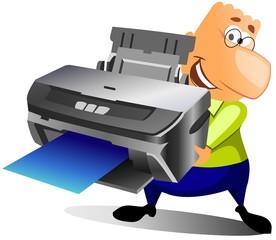 happy man printing some documents