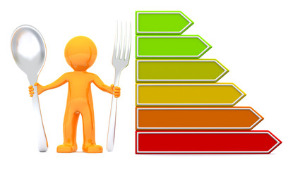 3d man with nutrition scale. Isolated on white background