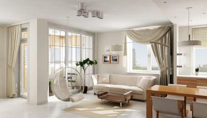 Interior of modern luxury light apartment, 3D render