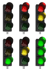 Traffic light combinations over white background
