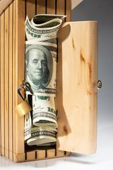 Wooden moneybox full of money