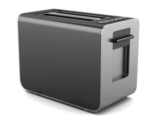 modern black toaster isolated on white background