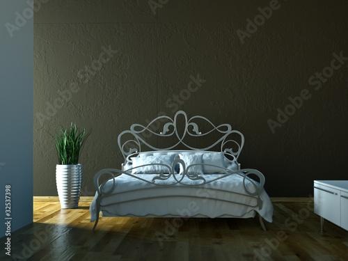 schlafzimmer bett vor brauner wand stockfotos und lizenzfreie bilder auf bild. Black Bedroom Furniture Sets. Home Design Ideas