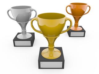 Three metal trophys