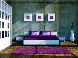 Schlafzimmer im Loft weiss pink