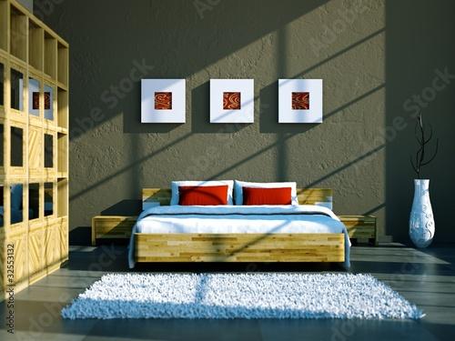 Schlafzimmer Mit Holzbett Und Schrank Stock Photo And Royalty Free