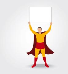 Super héros montrant un panneau
