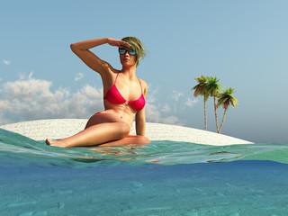 woman sitting on summer beach