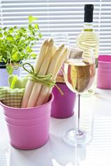Fototapete - Spargel und Weißwein