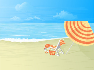 tropical beach,deck chair and umbrella
