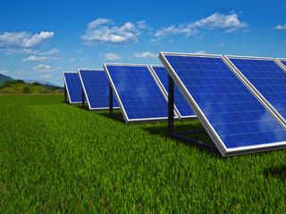 Solar panels system. Green energy from sun.