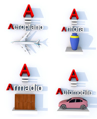A come aeroplano, anfora, armadio, automobile