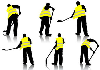 Worker with a shovel