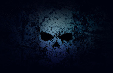 Blue Grunge Skull Dark Background