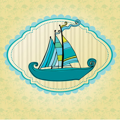 doodle illustrated summer background with cute ship