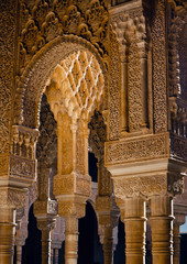 Columns in Courtyard of the Lions - Alhambra / Spain